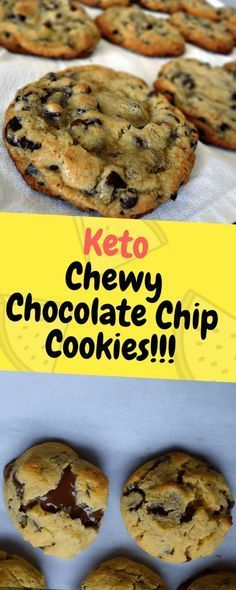 Keto Chewy Chocolate Chip Cookies – Perfectly chewy and gooey, low carb chocolate chip cookies… Ingredients 2 large teaspoon pure vanilla extract ⅓ cup granulated erythritol… Low Carb Cookies, Keto Chocolate Chip Cookies, Low Carb Sweets, Baking Chocolate, Brownie Cookies, Desserts Keto, Keto Snacks, Keto Friendly Desserts, Holiday Desserts