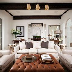 Light + Neutral living room with lots of contrast