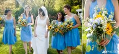 Blue and Gold wedding. The Bride is wearing a vintage dress. And the bridesmaids look bright and airy in tea length dresses. Sunflowers make this garden party pop.