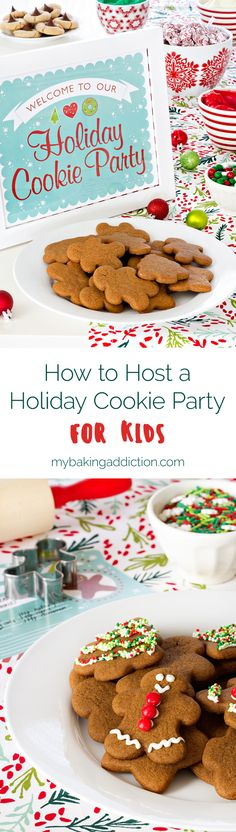How to host a fun and festive holiday cookie party for kids along with FREE printables from EVITE!
