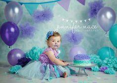 teal and lavender birthday cake smash. jennifer nace photography