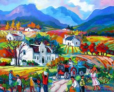 Artwork of Isabel le Roux exhibited at Robertson Art Gallery. Original art of more than 60 top South African Artists - Since Mexican Market, Oil Painting Texture, South African Artists, Nice Picture, Naive, Art Techniques, Painting Inspiration, Landscape Paintings, Wine Glass