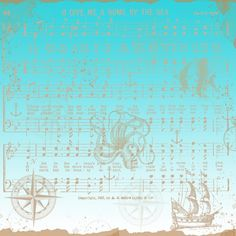 Free Digital Scrapbook Paper - Blue Nautical with Musical Notes Background ~ also in faded blue