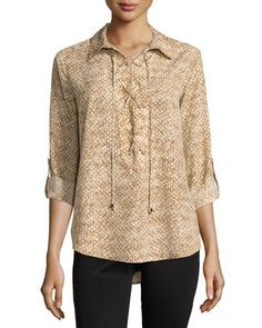 MICHAEL Michael Kors Snake-Print Lace-Up Tab-Sleeve Blouse, Dark Camel New offer @@@ Price :$130 Price Sale $89