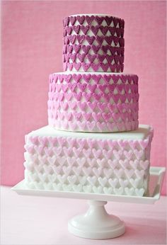 Storeys on a rectangular base with sugar hearts ombre #cake #cooking #heart #ombre #hearts