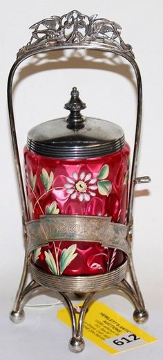 REED & BARTON PICKLE CASTOR IN CRANBERRY GLASS WITH ENAMEL FLOWERS INSERT C. 1890'S
