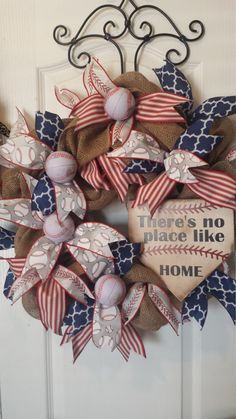 No Place Like Home Baseball Wreath by KBWreaths on Etsy https://www.etsy.com/listing/270699056/no-place-like-home-baseball-wreath