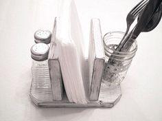 Rustic Napkin Holder, Country Kitchen Decor, Primitive Kitchen, Desk Organizer, Table Organizer, Restaurant Decor, Urban Chic by midwesterntreasures on Etsy https://www.etsy.com/listing/66072571/rustic-napkin-holder-country-kitchen