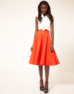 Fit and flare midi skirt