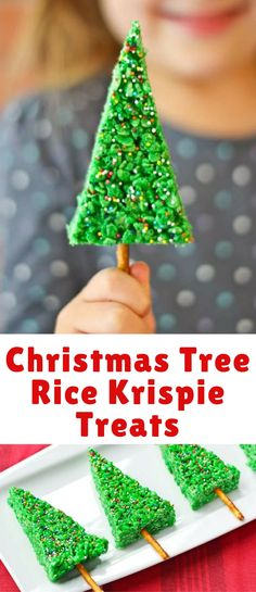 Christmas Tree Rice Krispie Treats are SO simple to make and kids adore the fun … Christmas Tree Rice Krispie Treats are SO simple to make and kids adore the fun shape and color. If you're scrambling for a last minute holiday treat, these are it! Christmas Deserts, Vegan Christmas, Christmas Cooking, Christmas Goodies, Christmas Candy, Rice Crispie Christmas Trees, Kids Christmas Treats, Christmas Chocolate, Christmas Recipes