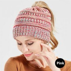 d15f49693 33 Best knitted messy bun hat beanie winter hats with ponytail hole ...