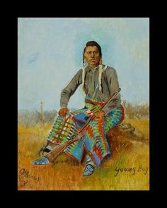 """Portrait of a Native American """"Young Boy"""" with Buffalo Skull in lower left corner"""