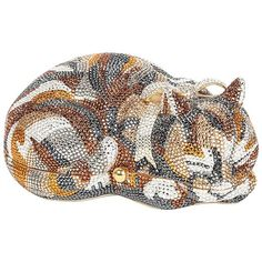 Preowned Iconic Judith Leiber Sleeping Cat Jeweled Crystal Minaudière... (50.685 ARS) ❤ liked on Polyvore featuring bags, handbags, clutches, cats, animals, judith leiber, beige, judith leiber handbags, mini purse and crystal purse