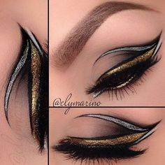 Elymarino | black, gold, silver Arabic makeup influenced eyeliner