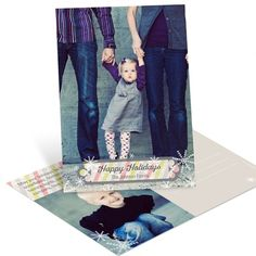 Stripes and Snowflakes Vertical -- Personalized Christmas Postcards