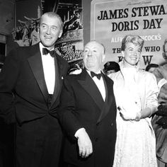 "Jimmy Stewart, Alfred Hitchcock and Doris Day at the premiere of ""The Man Who Knew Too Much"" in Los Angeles, May 22, 1956."