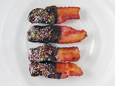 Bacon Dessert Recipes: Chocolate Covered Bacon. Cook bacon on foil lined cookie sheet at 400 for 12 min. Pad of grease once cooled. Melt Chocolate chips with a double boiler. Use a spoon or dip bacon into chocolate and lay on parchment paper to cool.