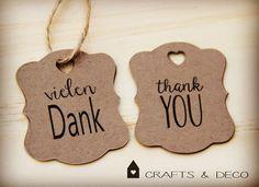 """Gastgeschenke - Vintage """"vielen Dank"""" Kraftpapier Anhänger - ein Designerstück von CraftsandDeco bei DaWanda"""