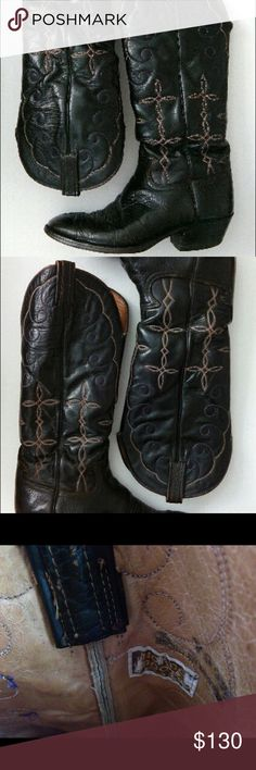 Sz 9 1/2 D Hondo Boots Top sole is through on one of the Boots, but you could still wear them, even in the rain. Half soles are about $40 at a repair shop. These would also fit 11 1/2D ladies. Comes from a pet/smoke free home.   #makemeanoffer #texas #bundle #cowboy #cowgirl #oldwest #rodeo #vintage Hondo Shoes Boots