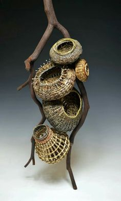 Matt Tommey designs sculptural pieces for elegant home decor, including fireplace mantel sculptures, wall hangings, single baskets and collections with multiple pieces. Contemporary Baskets, Modern Baskets, Pine Needle Baskets, Basket Crafts, Copper Art, Basket Bag, Weaving Art, Gourd Art, Weaving Techniques