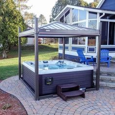 Oasis Mocha LED Spa Cover – Keep up with the times. Hot Tub Gazebo, Hot Tub Backyard, Backyard Pools, Backyard Pavilion, Indoor Pools, Pool Decks, Jacuzzi Covers, Oasis, Luxury Houses