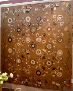 Yoko Saito Quilt....I would love to make this one!! Wool Applique, Applique Quilts, Yoko Saito, Patch Quilt, Mug Rugs, Quilt Making, Quilting Designs, Quilt Patterns, Japanese