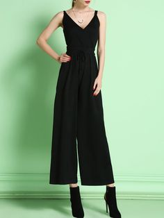 Shop Jumpsuits - Black V Neck Casual Jumpsuit online. Discover unique designers fashion at StyleWe.com.