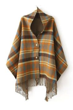 Women Plaid Tartan Scarf Fall Winter 2015 New Tassels Button Down Faux Cashmere Shawl Poncho Cape Wrap Warm Pashmina Pull Poncho, Poncho Cape, Poncho Sweater, Poncho Shawl, Cape Coat, Blanket Poncho, Tartan Plaid Scarf, Cashmere Shawl, Shawls And Wraps