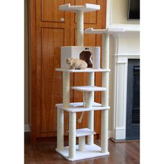 This indoor climbing cat tower tree features a lot of places for your cats to rest, play, climb or scratch. Cat Tree Condo, Cat Condo, Cat Furniture, Furniture Deals, Tree Shelf, Rope Swing, Cat Towers, Cat Scratching Post, Pet Beds
