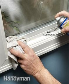 Sticky vinyl windows and doors? Try spraying dry lubricant on the contact points and wiping it off with a rag.