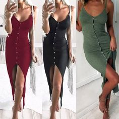 Women Bodycon Pencil Dress Sleeveless Evening Cocktail Party Casual Slit  Dresses ac3efb413772