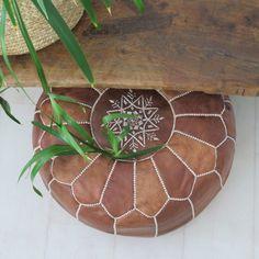 Moroccan Leather Pouffe – Mocha- Maison & Maison