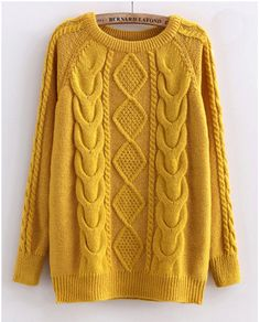 Cabled Sweater in Yellow