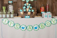 Whale Themed IT'S A BOY Baby Shower Banner - Whale Baby Shower Decorations in Aqua Blue