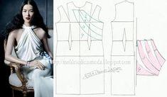 Modelagem vestido com blusa frente única entrelaçada. Fonte: https://www.facebook.com/photo.php?fbid=678332588862349=a.262773027084976.75978.143734568988823=1