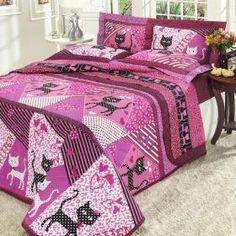 Kit: 1 Cobre-leito Casal + 2 Porta-travesseiros Percal 180 fios - Cat Purpura - Dui Design
