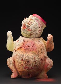 Kukuli Velarde, Grief, Isichapuitu Series, 1997-2002. Clay with mixed media, low fire 23.5 x 17 x 11 inches