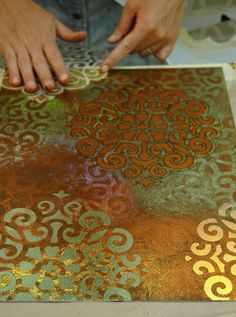 Artist working with Stencil Impressions Intrigued? Techniques taught at the Stencil Impressions Virtual Workshop, info w/link jump Stencil Patterns, Stencil Art, Stenciling, Bird Stencil, Damask Stencil, Cricut Stencils, Art Diy, Arts And Crafts, Paper Crafts