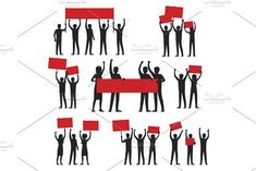 Protesters Silhouettes with Red Streamers Set. Banner #protest #demonstration