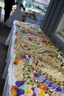 The cookie table. Apparently this is a Pittsburgh and/or Italian tradition, depending on who you ask. Whatever the source, it's a great way to represent where I come from--with copious amounts of sugar!!!