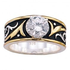Montana Silversmiths Silver and Gold Filigree Solitaire Ring