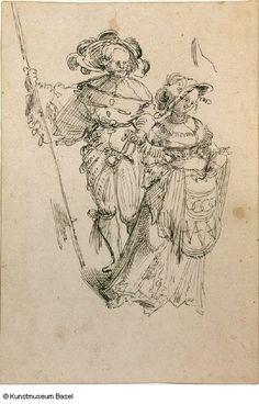 """""""Reisläufer mit Hellebarde und Dirne"""" (Swiss mercenarie with halberd, and harlot), Urs Graf. 1520/1521"""