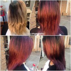 After a serious of unfortunate events we decided on a red ombre  done with @olaplex by kittyempireftw