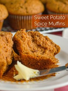 Sweet Potato Spice Muffins such a quick easy recipe for moist delicious muffins and a perfect use for leftover sweet potatoes too brunch breakfast snacks easymuffinrecipes Sweet Potato Muffins, Sweet Potato Recipes, Recipe For Leftover Sweet Potatoes, Sweet Potato Cupcakes, Baking Recipes, Cake Recipes, Dessert Recipes, Scones, Rock Recipes