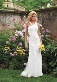 strapless v-neck informal organza summer wedding dress     gmmg