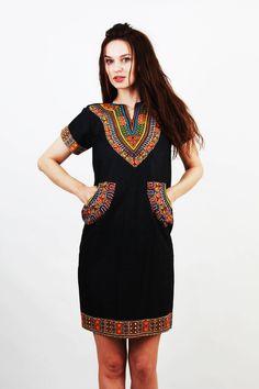 Dashiki Dress / African Dress / Ankara Dress / Tribal Dress / Cotton Dress / Folk Dress / Dress with Pockets / Medium Dress by Ramaci on Etsy