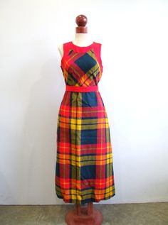 1970s Plaid Dress Vintage 70s Day Glo Dress  by RedsThreadsVintage, $44.00
