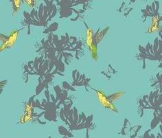 Hummingbird and Butterfly Floral - large fabric by gail_mcneillie on Spoonflower - custom fabric