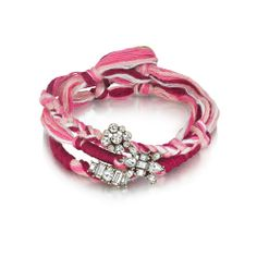 Deco Stations Woven Wrap Bracelet Tonal pink thread and deco crystal cluster stations come together in this must-have wrist wrap of the season.