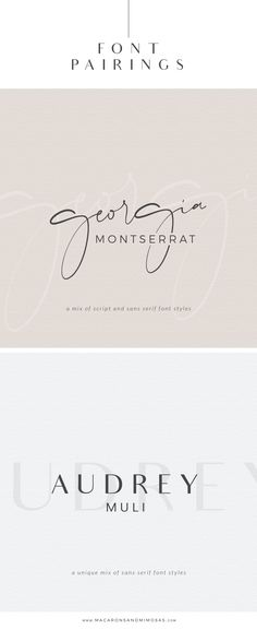 Free Font Pairings Georgia Script, Montserrat, Audrey Font, Muli, Google fonts. Choosing the proper font combination will give you either a luxurious, modern, traditional, feminine or even masculine feel. Silhouette Cameo Fonts, Cricut Explore Fonts, Crafting Fonts, Graphic Design Fonts, Script Fonts, Handwritten Fonts, Calligraphy Fonts, Fun Fonts, #handwritten #fonts #fontpairing #designer #logodesign